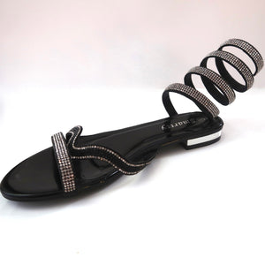 Black Spiral Wraparound Ankle Sandals