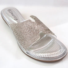 Load image into Gallery viewer, Silver Crystal-Embellished Flats