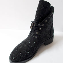 Load image into Gallery viewer, Black ankle booties with skull shoelaces and crystal embellishments. Slight heel. Black crystal embellished upper. Shoelaces with a skull aglet.