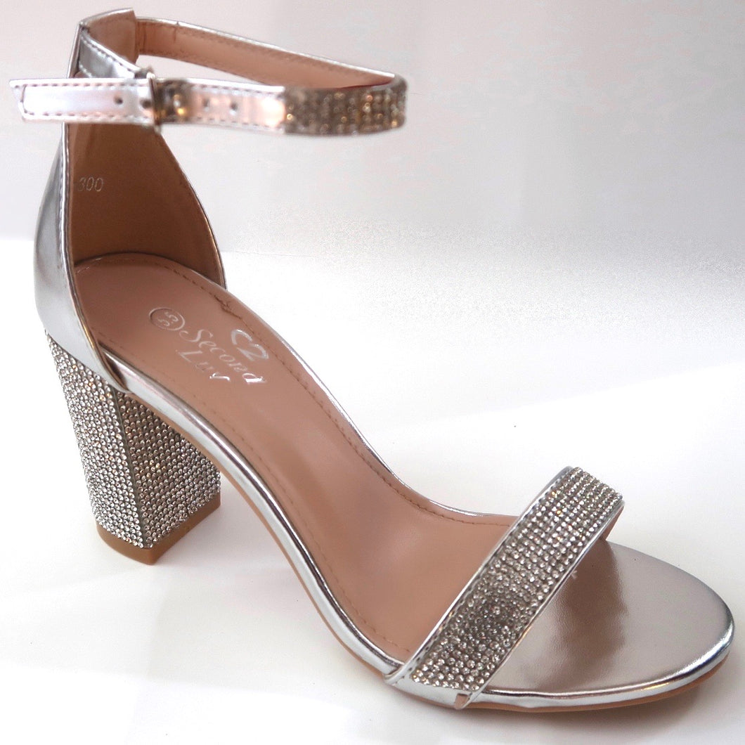 Silver Crystal Block Heel Sandals