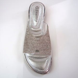 Silver Crystal-Embellished Flats Birds-Eye View