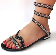 Load image into Gallery viewer, Black Spiral Wraparound Ankle Sandals