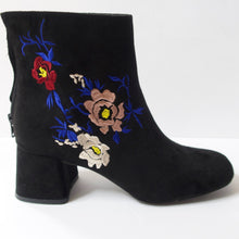 Load image into Gallery viewer, Black Floral-Embroidered Ankle Booties