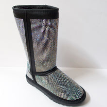 Load image into Gallery viewer, Black winter boots covered in crystal embellishments. Hit the mid-to-upper calf. Entire boot embellished with iridescent silver crystals.  Fuzzy lining on the insides, including the sole to add warmth.  Textured outsole for traction.