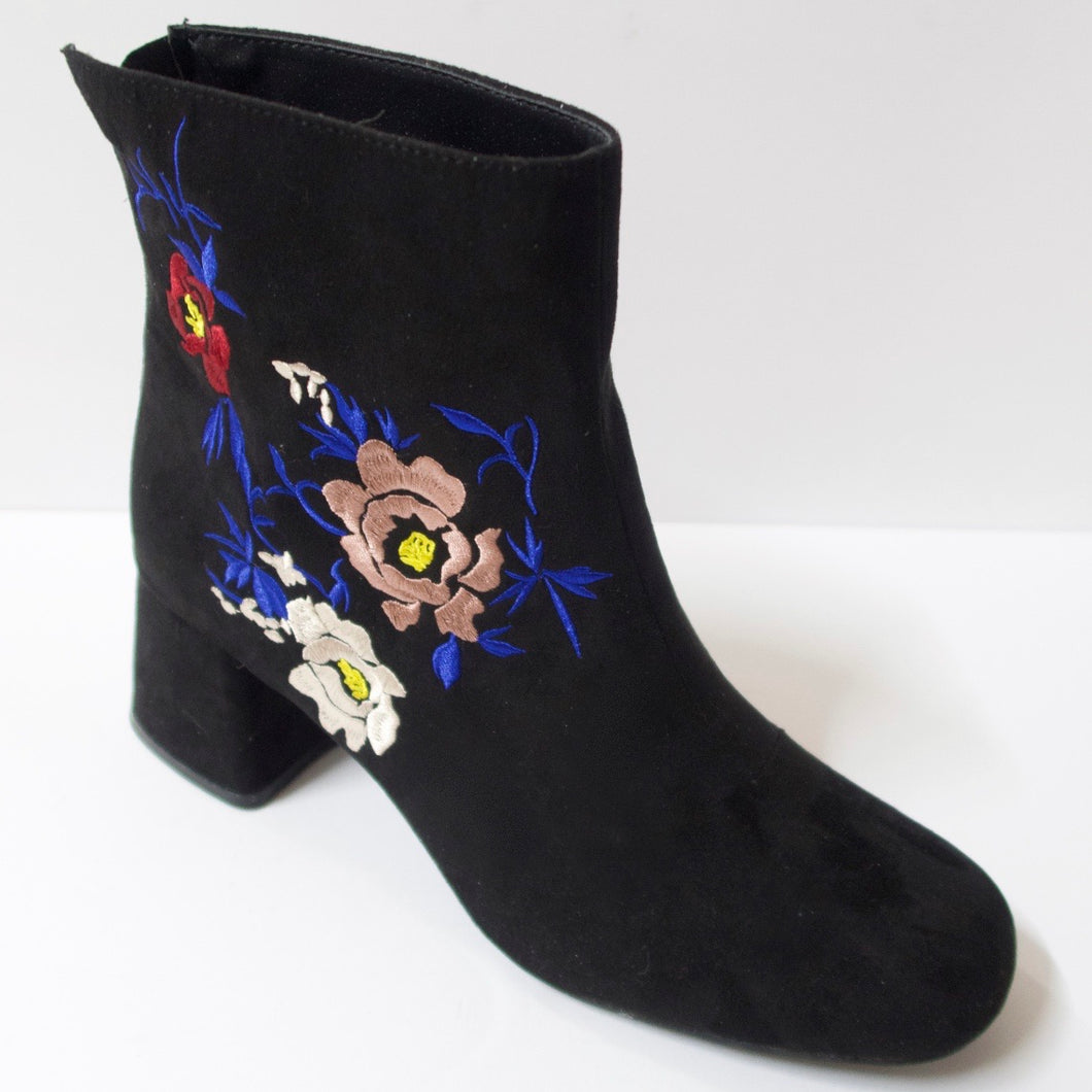 Black Floral-Embroidered Ankle Booties