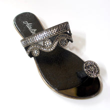 Load image into Gallery viewer, A black toe-ring sandal with crystal embellishments.