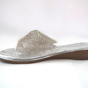 Silver Crystal-Embellished Flats Side View