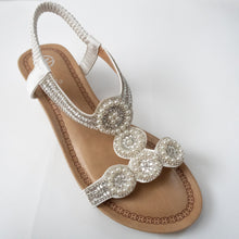 Load image into Gallery viewer, Circular Crystal Slingback Sandals (BLACK/WHITE)