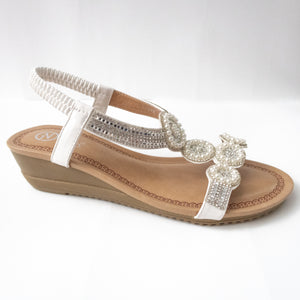 Circular Crystal Slingback Sandals (BLACK/WHITE)