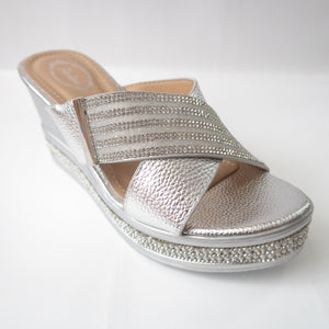 Silver Cross-Strap Wedges