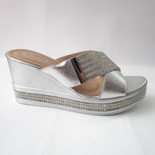 Load image into Gallery viewer, Silver Cross-Strap Wedges