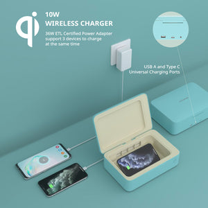 Senerport 3 in 1 UVC Box - Wireless Charger - Turquoise Blue