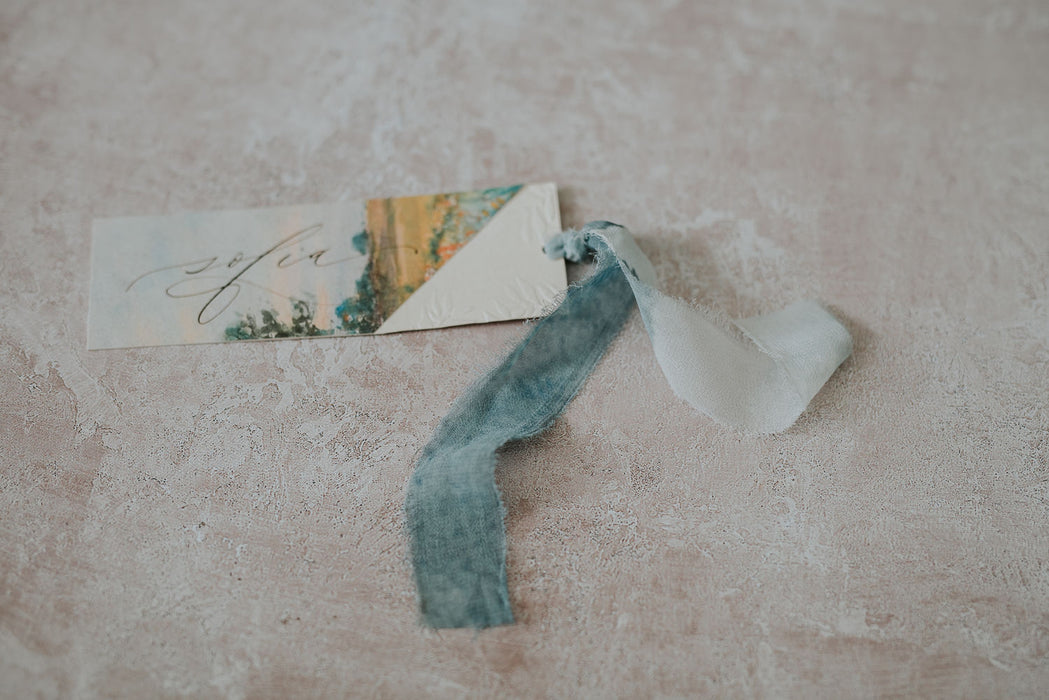 Recycled silk chiffon watercolour ribbon