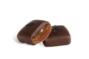 Bourbon Flavored Dark Chocolate Salted Caramels - Jo's Candies