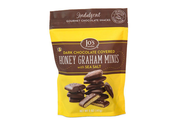 Mini Dark Chocolate Graham Crackers with Sea Salt  - Jo's Candies