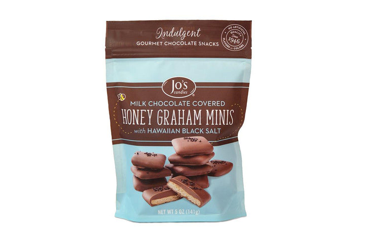 Mini Milk Chocolate Graham Crackers with Black Sea Salt - Jo's Candies
