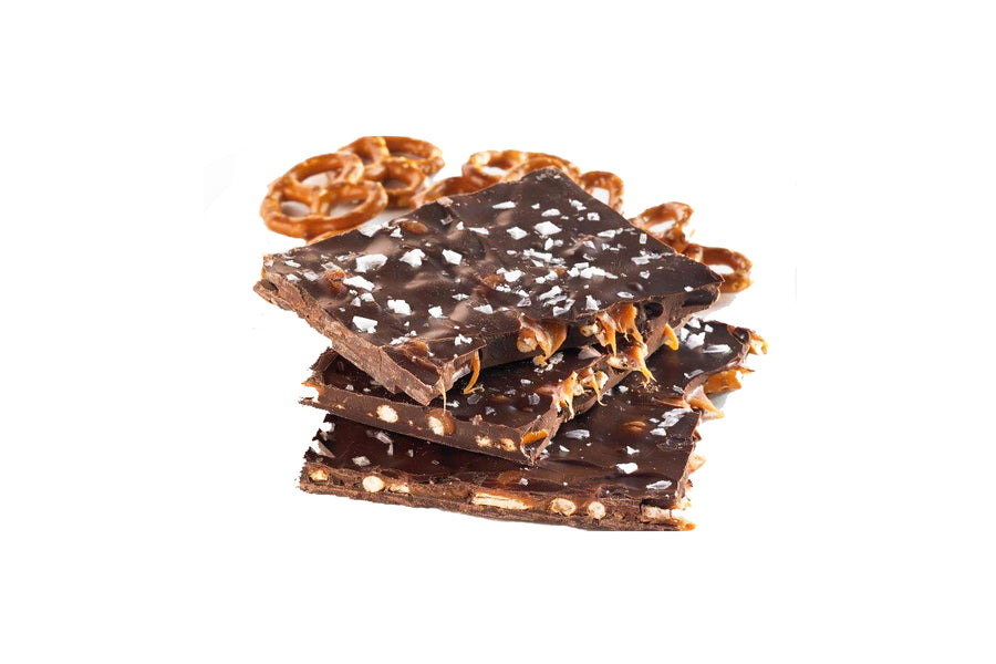 Salted caramel dark chocolate pretzel bark - Jo's Candies