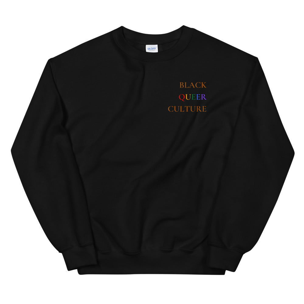 Blk Queer Clt Sweatshirt- Brown Text