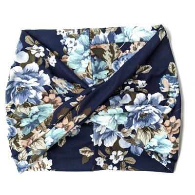 Navy Bouquet Floral Wide Headband - Nurse Life Boutique