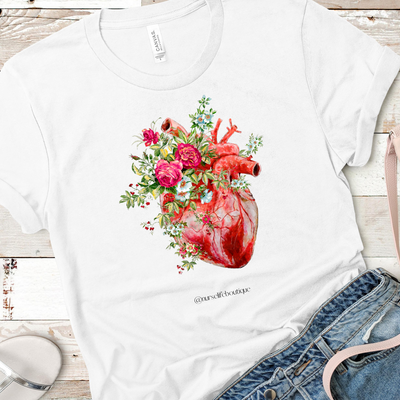 Rose Heart Short Sleeve Tee - Nurse Life Boutique
