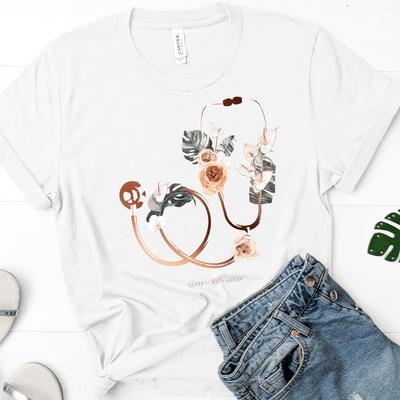 Floral Stethoscope Tee - Nurse Life Boutique