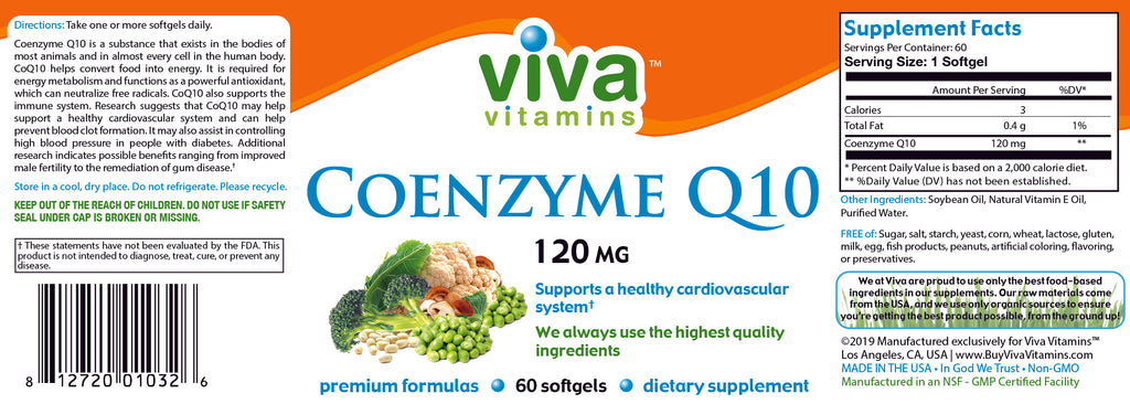 Co Q10 (CoEnzyme) 120mg Label