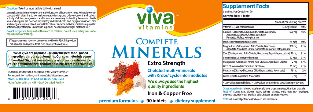 Complete Minerals – Extra Strength Iron and Copper Free Label