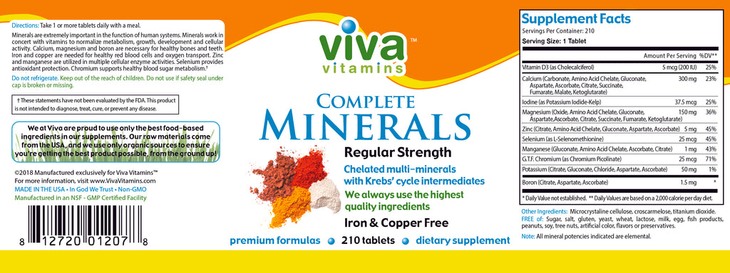 Complete Minerals – Regular Strength Iron and Copper Free Label