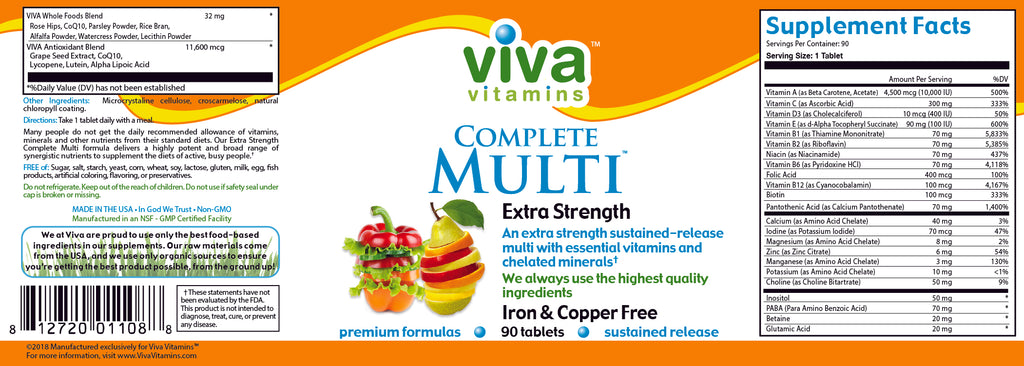 Complete Multi – Extra Strength Iron and Copper Free Label