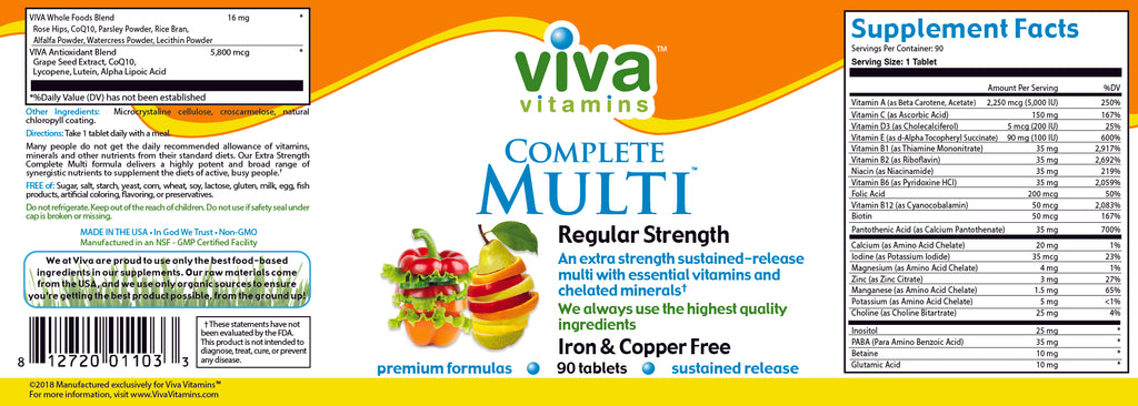 Complete Multi – Regular Strength Iron and Copper Free Label