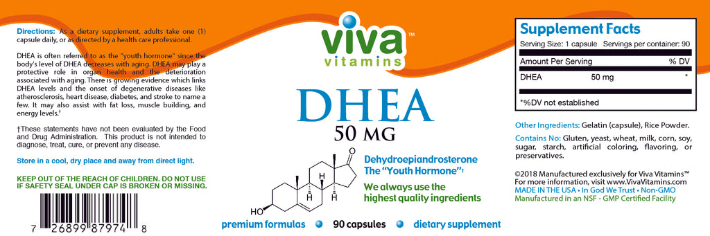 DHEA (50mg) Label