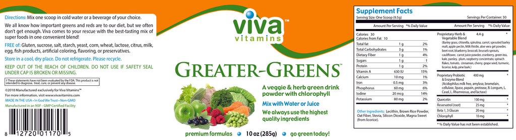 Greater Greens (powder) Label