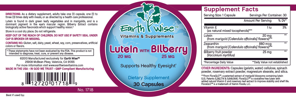 Lutein with Bilberry Label