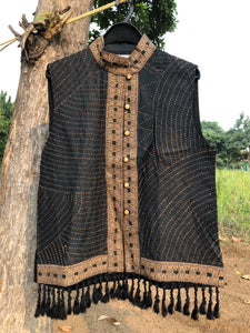 Kantha Vest- Black and Gold Tassel