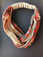 Load image into Gallery viewer, Duo Textile Headband - Blockprint from Bhuj and Khadi from Bikaner