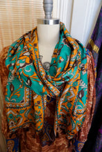 Load image into Gallery viewer, Large Art Shawl: Teal Baroque