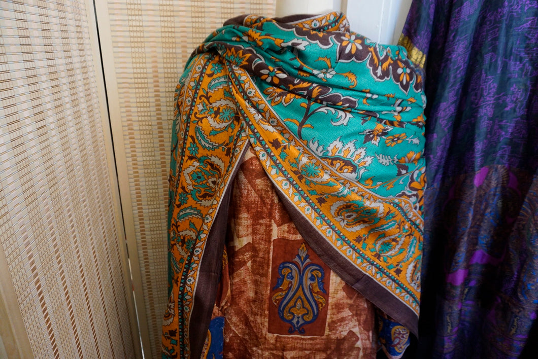 Large Art Shawl: Teal Baroque
