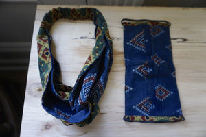 Duo Textile Matching Set Headband and Mask: Forest Indigo