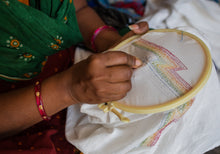 Load image into Gallery viewer, Hand Embroidered Earth Arrows Mask - Artisans Lockdown Project