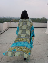 Load image into Gallery viewer, Sita Cape - Geo Turquoise in Silk Crepe