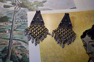 Lattice Gunmetal and Gold Earrings