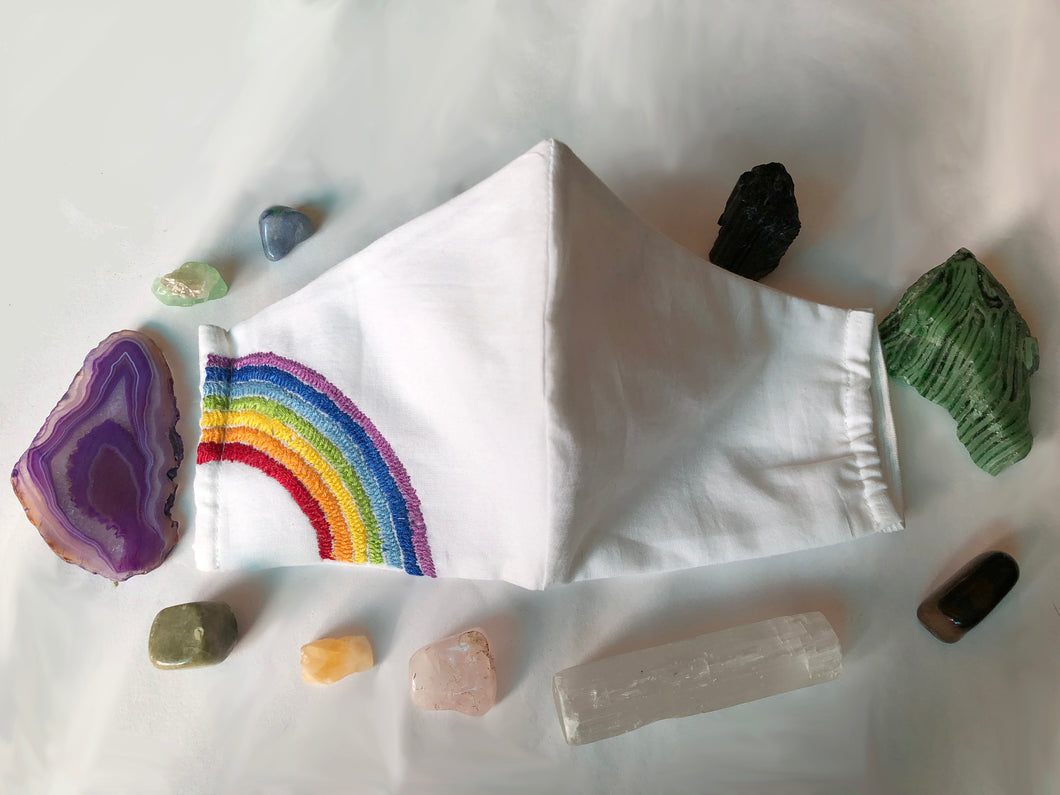 Hand Embroidered Rainbow Love Mask - Artisans Lockdown Project