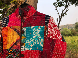 Kantha Patchwork Jacket - Bright Mirrors