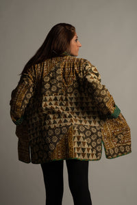 Kantha Patchwork Jacket -Terra Cotta Forest (L)