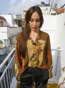 reSaree Boho Blouse - Oasis in Silk