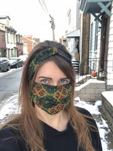 Load image into Gallery viewer, Duo Textile Matching Set Headband and Mask: Forest Indigo