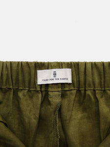 Linen Wide Leg Pants Moss Green