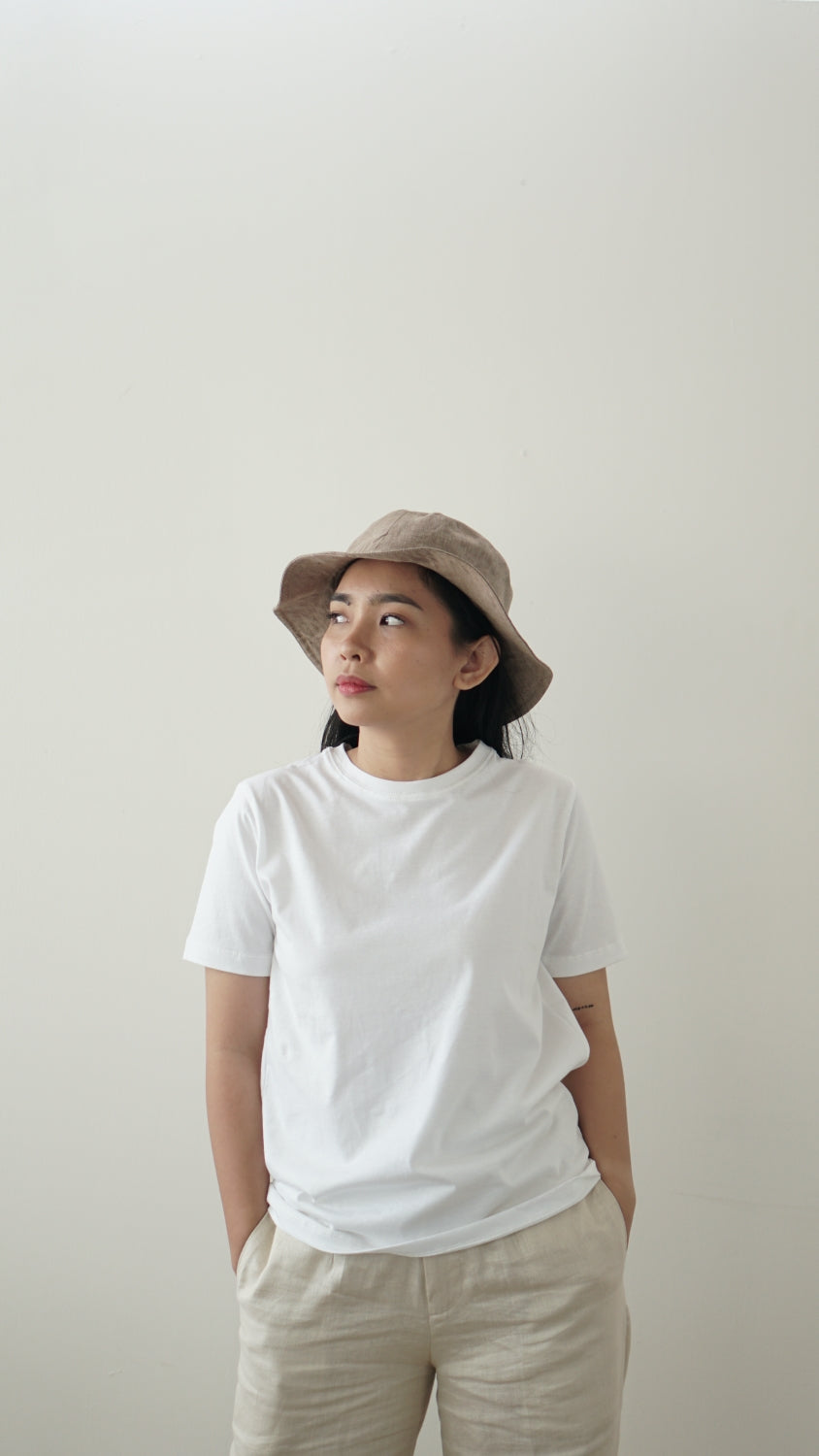 Linen Bucket Hat Taupe