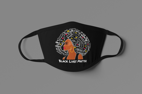 UNISEX BLM AFRO QUEEN FACE MASK