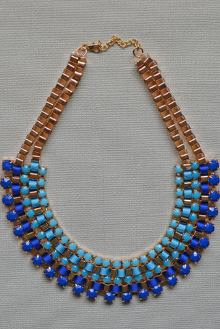 Layers Collar Necklace Blue